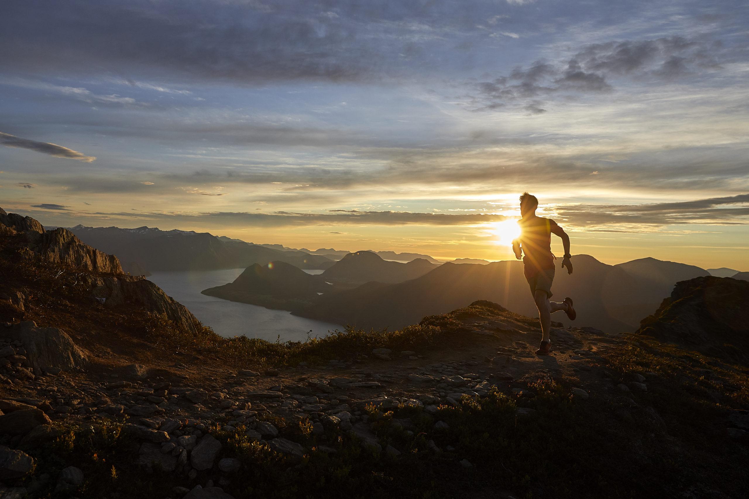 hiking running