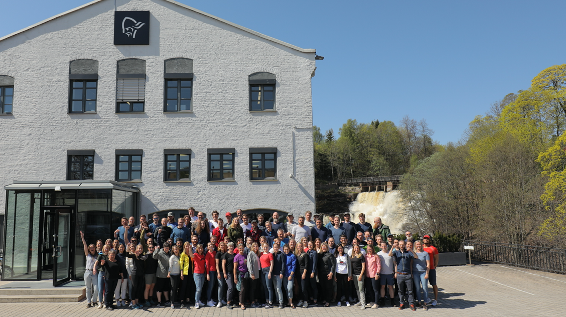 Norrøna staff in front of HQ